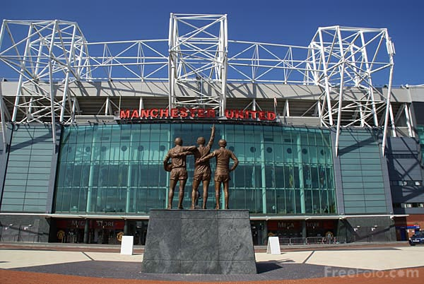 Manchester United Football Club Old Trafford football ground. Old Trafford has the largest capacity of any English football stadium at just over 76,000, and is the only UEFA 5-star rated facility in England.